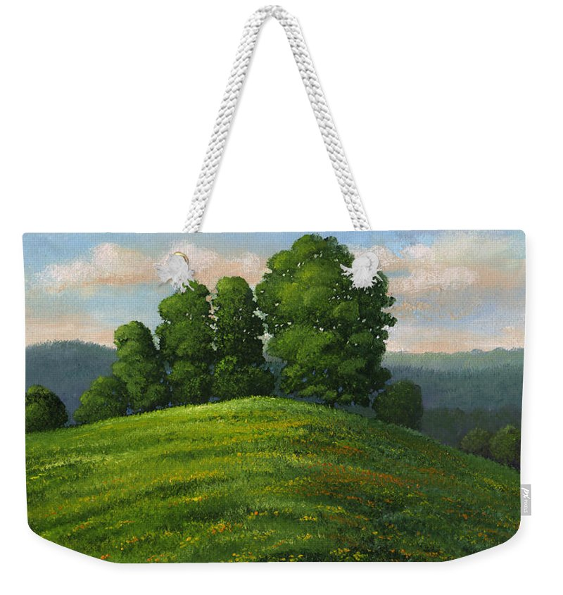 Landscape Weekender Tote Bag featuring the painting Toboggan Hill by Frank Wilson