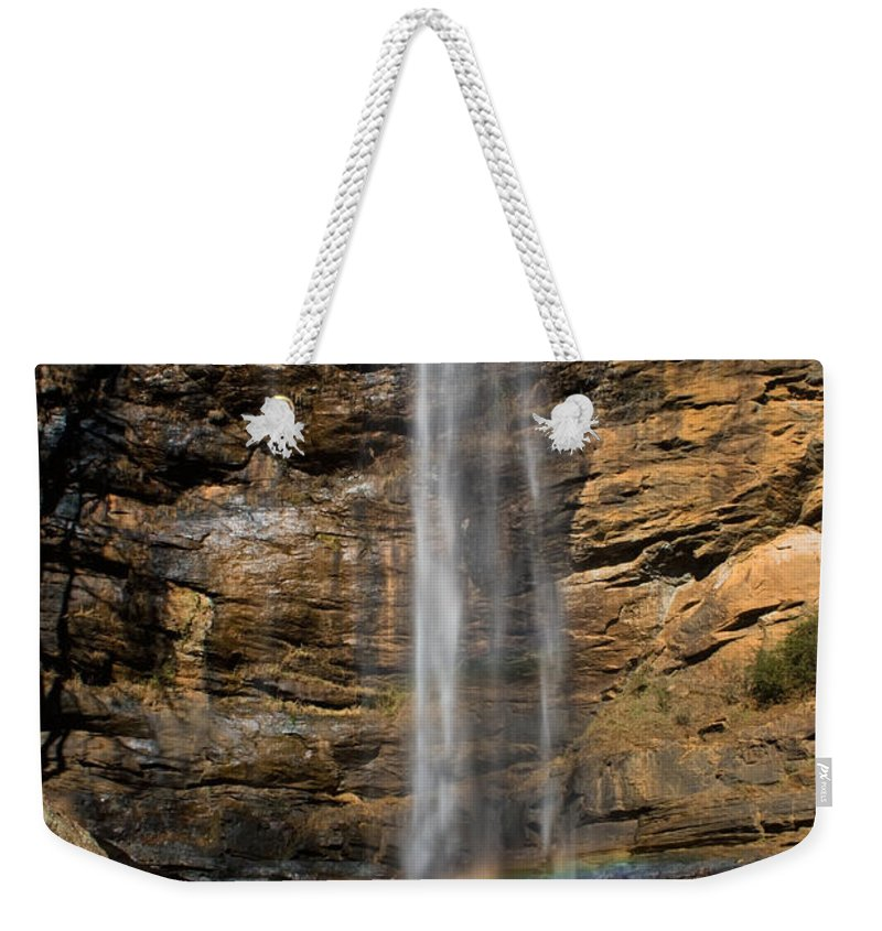 Waterfall Weekender Tote Bag featuring the photograph Toccoa Falls With Rainbow by Lynne Jenkins