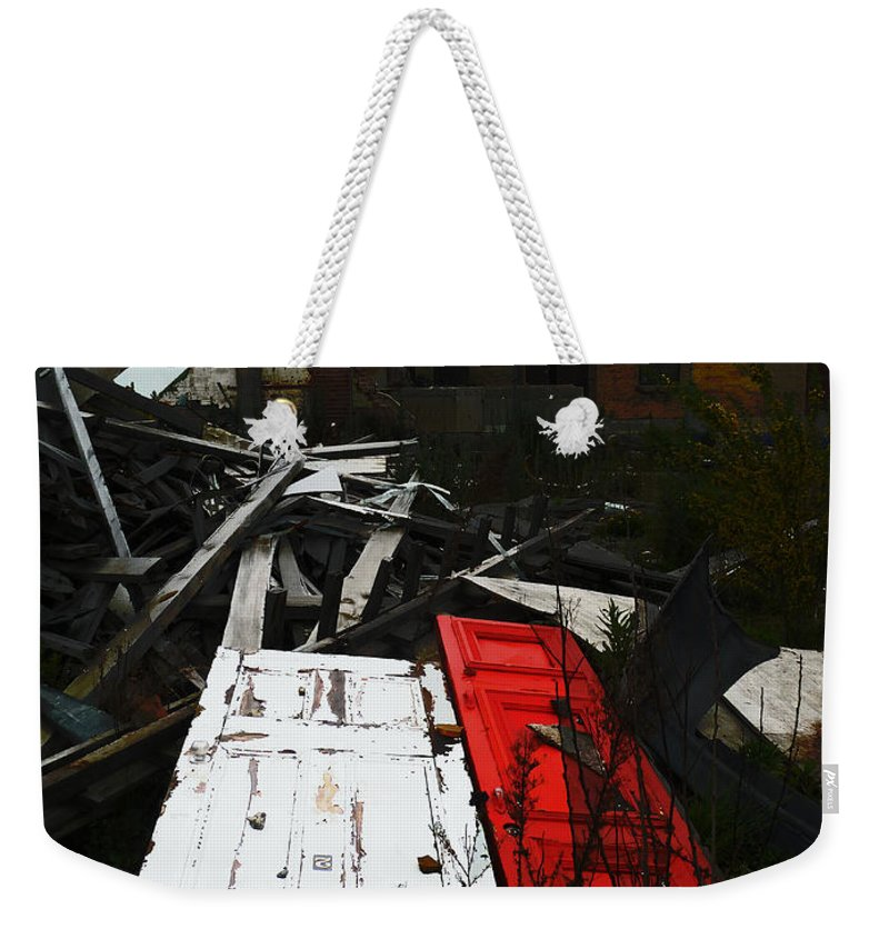 Red Weekender Tote Bag featuring the photograph Together Finally by Steve Taylor