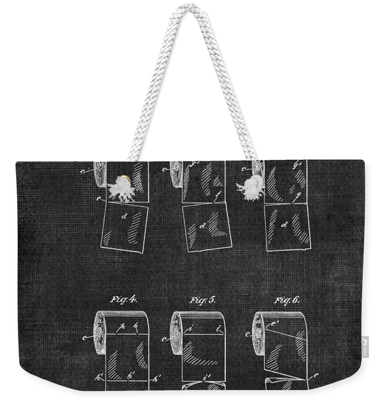 Toilet Weekender Tote Bag featuring the digital art Toilet Paper Patent 040 by Voros Edit