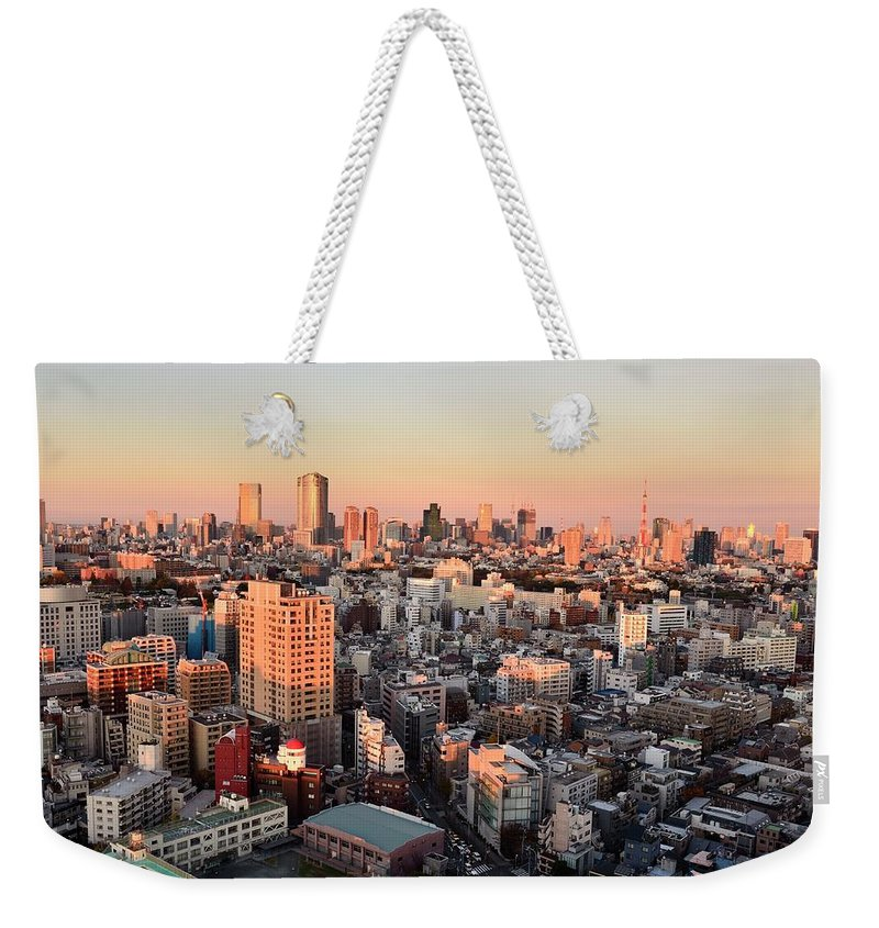 Tokyo Tower Weekender Tote Bag featuring the photograph Tokyo Cityscape At Sunset by Keiko Iwabuchi