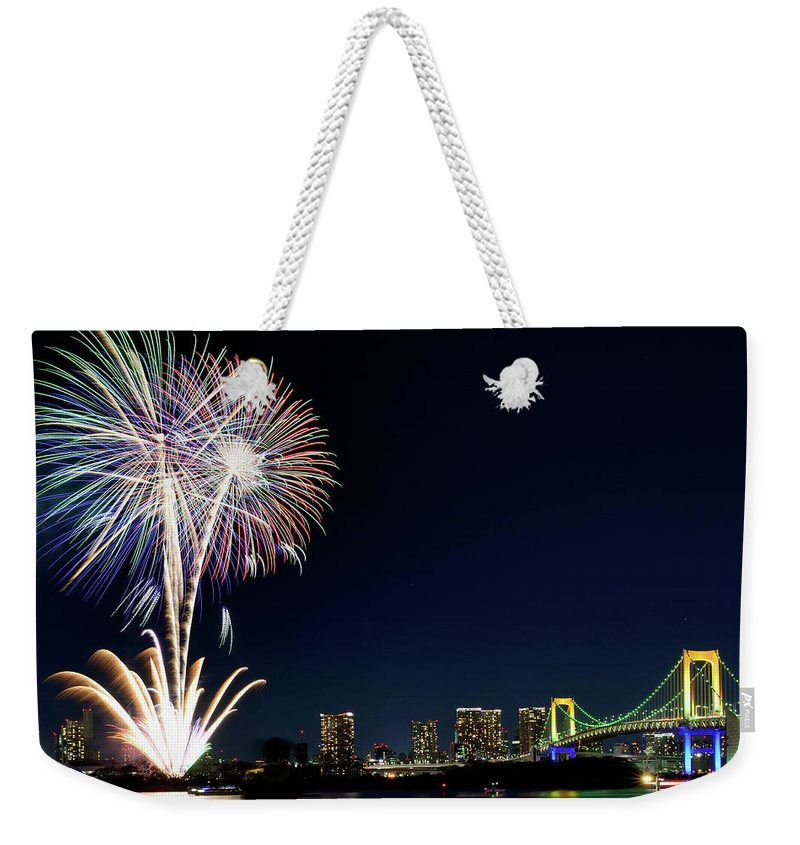 Firework Display Weekender Tote Bag featuring the photograph Tokyo Fireworks by Vladimir Zakharov