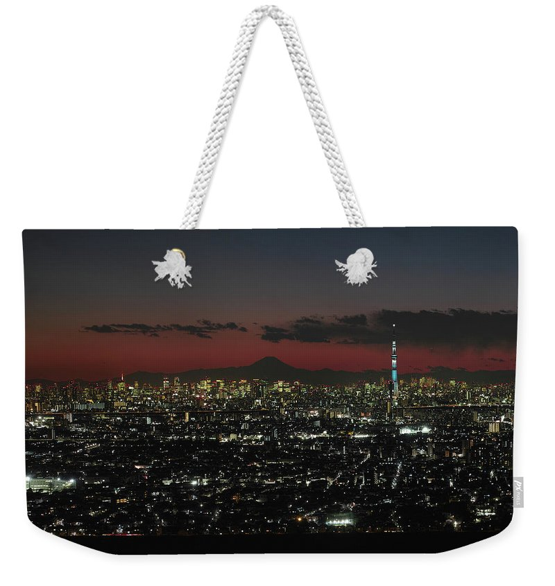 Tokyo Tower Weekender Tote Bag featuring the photograph Tokyo Skytree, Fuji, And Tokyo Tower by I Love Photo And Apple.