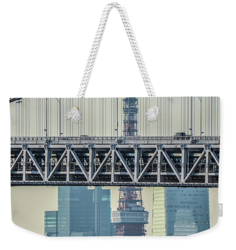 Tokyo Tower Weekender Tote Bag featuring the photograph Tokyo Tower And Rainbow Bridge by Image Courtesy Trevor Dobson