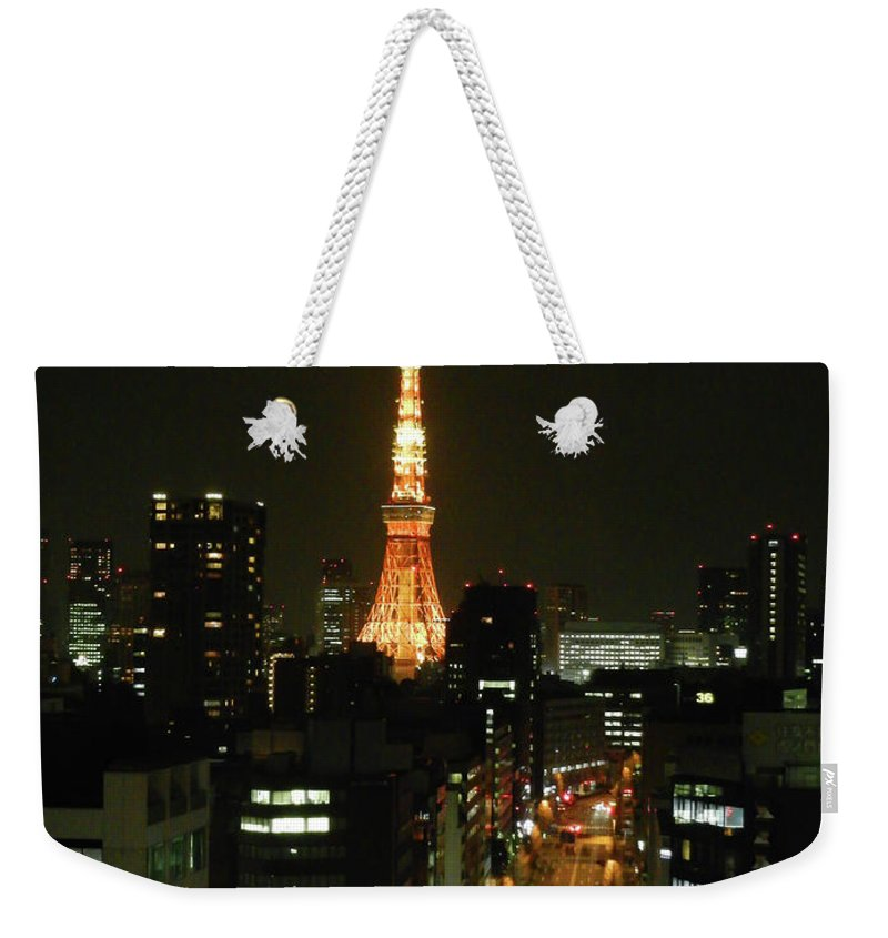 Guy Whiteley Photography Weekender Tote Bag featuring the photograph Tokyo Tower At Night by Guy Whiteley
