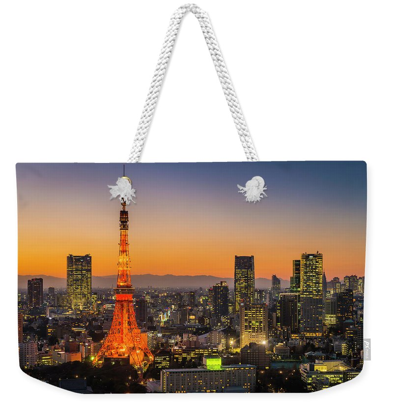 Tokyo Tower Weekender Tote Bag featuring the photograph Tokyo Tower Skyscrapers Neon Futuristic by Fotovoyager