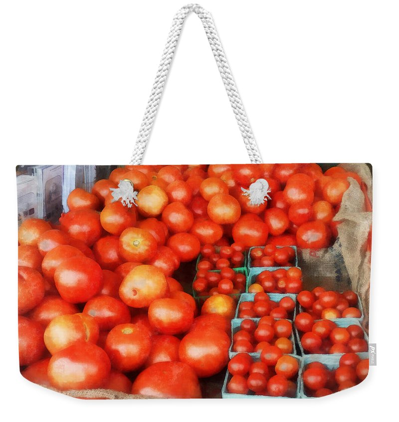 Tomato Weekender Tote Bag featuring the photograph Tomatoes For Sale by Susan Savad