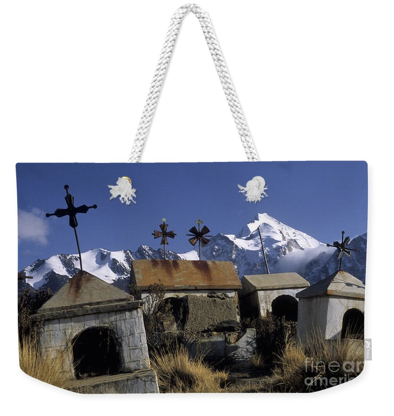 Bolivia Weekender Tote Bag featuring the photograph Tombs With A View by James Brunker