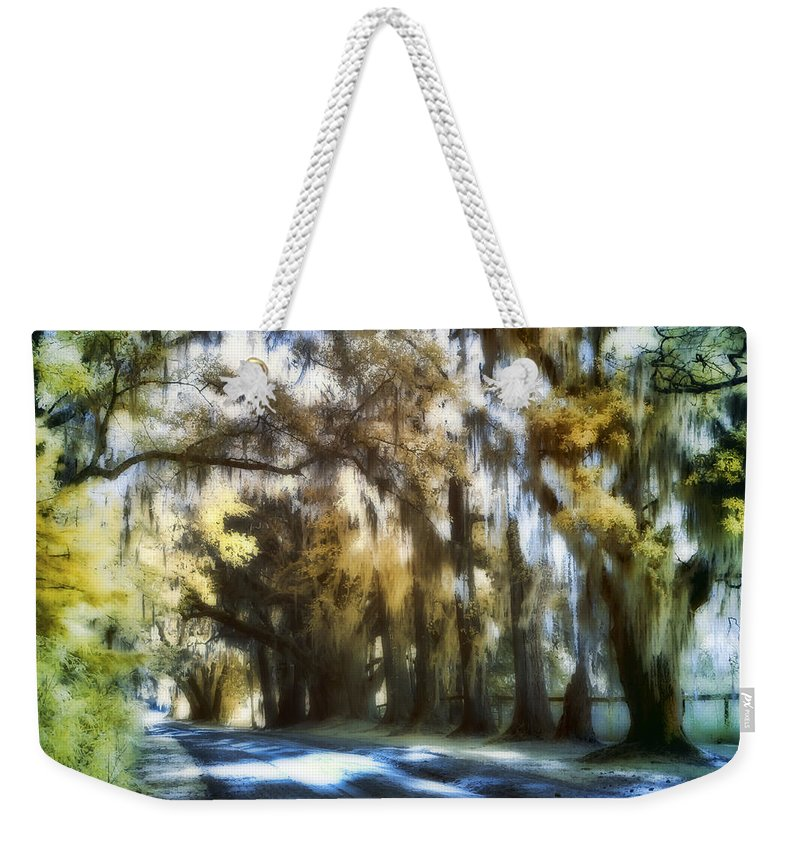 Tomotley Weekender Tote Bag featuring the photograph Tomotley Plantation Backroad by Sharon M Connolly