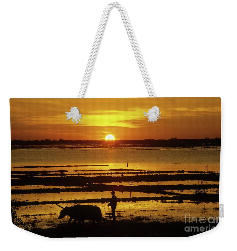 Cambodia Weekender Tote Bag featuring the photograph Tonle Sap Sunrise 01 by Rick Piper Photography