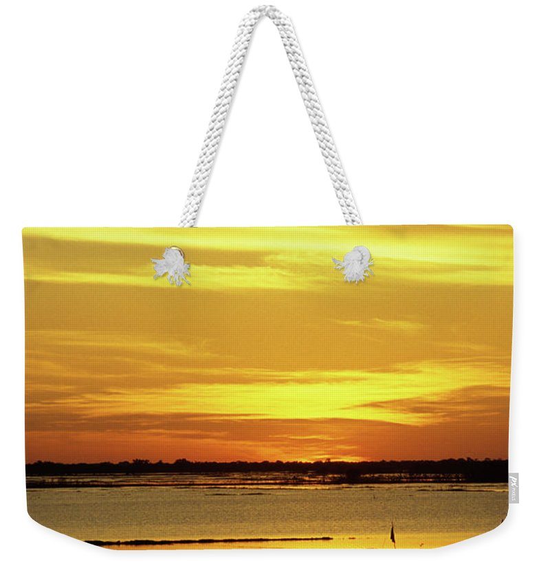 Cambodia Weekender Tote Bag featuring the photograph Tonle Sap Sunrise 02 by Rick Piper Photography