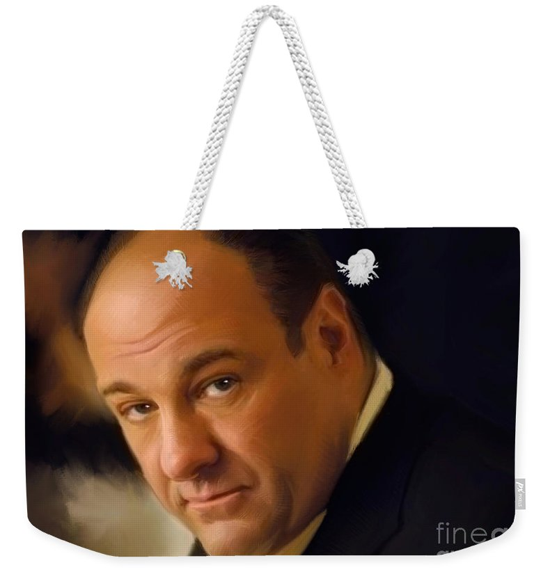 James Gandofini Weekender Tote Bag featuring the painting Tony Soprano by Paul Tagliamonte