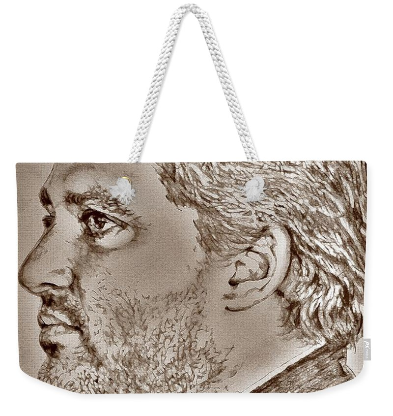 Tony Stewart Weekender Tote Bag featuring the digital art Tony Stewart In 2011 by J McCombie