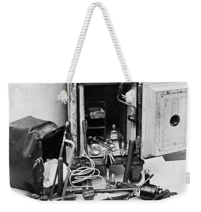 1921 Weekender Tote Bag featuring the photograph Tools Of The Safe Cracker by Underwood Archives