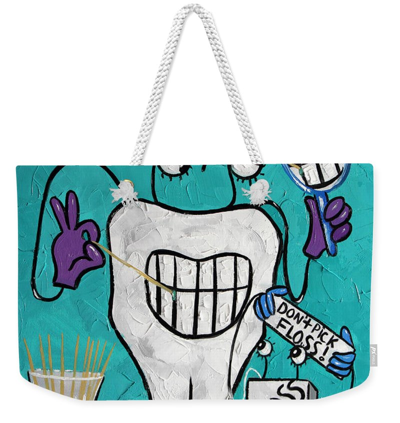 Tooth Pick Weekender Tote Bag featuring the painting Tooth Pick Dental Art By Anthony Falbo by Anthony Falbo