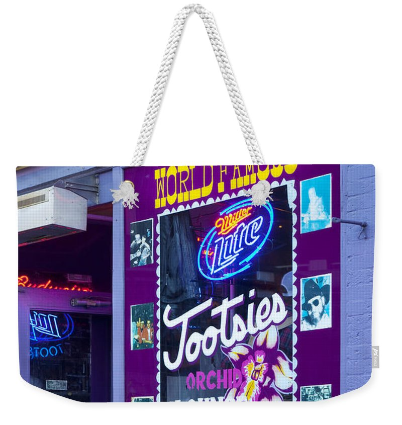 Tootsies Weekender Tote Bag featuring the photograph Tootsies Nashville by Brian Jannsen