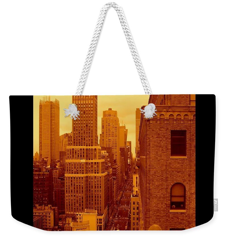 Manhattan Posters And Prints Weekender Tote Bag featuring the photograph Top Of Manhattan by Monique's Fine Art