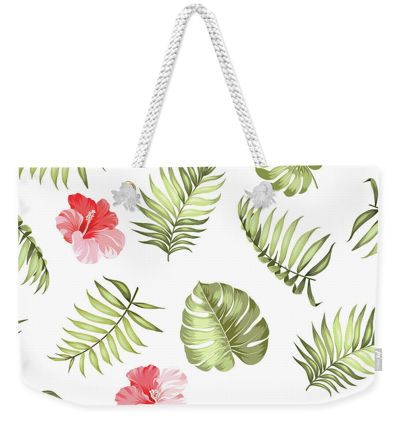Tropical Rainforest Weekender Tote Bag featuring the digital art Topical Palm Leaves Pattern by Kotkoa