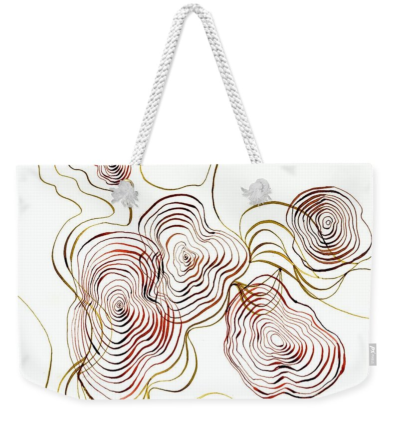 Map Weekender Tote Bag featuring the drawing Topo by Lizi Beard-Ward