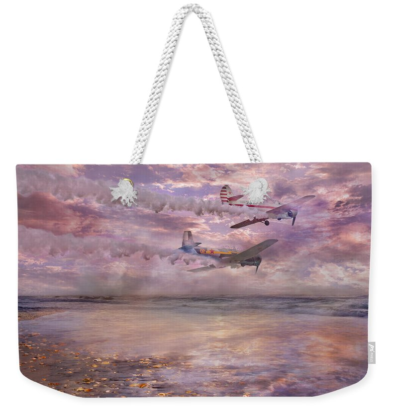 Beach Weekender Tote Bag featuring the digital art Topsail Flyers by Betsy Knapp
