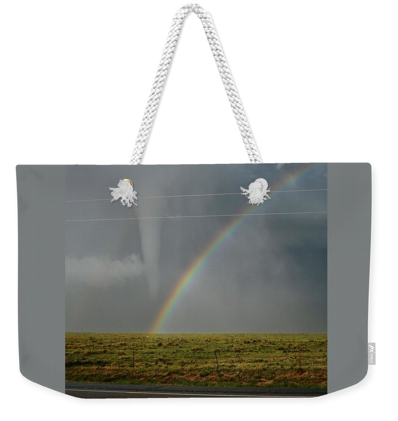 Campo Weekender Tote Bag featuring the photograph Tornado And The Rainbow by Ed Sweeney