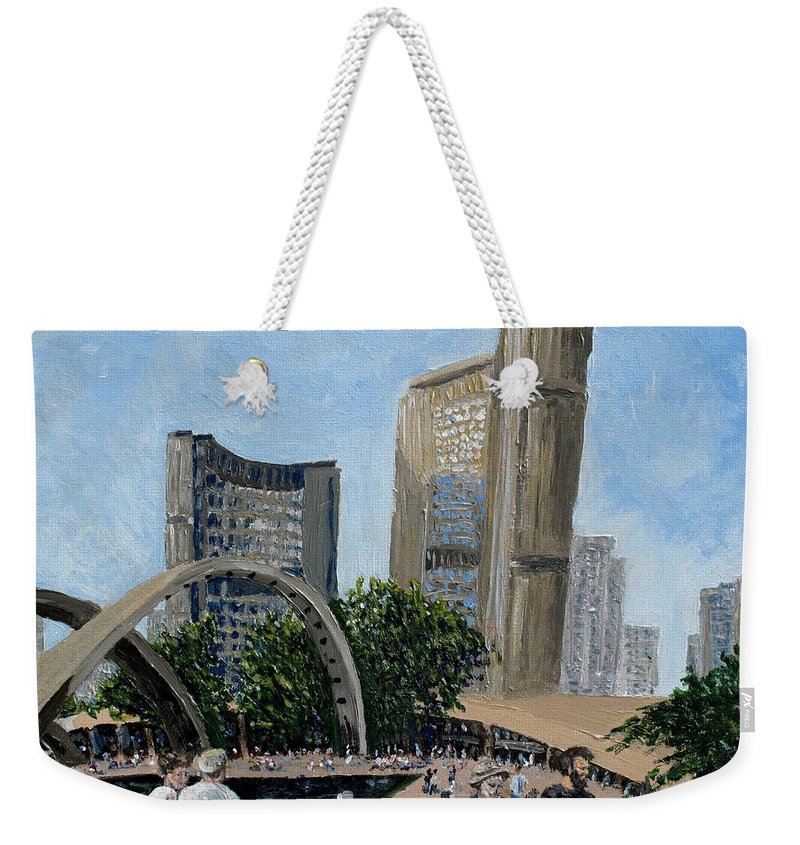Toronto Weekender Tote Bag featuring the painting Toronto City Hall by Ian MacDonald