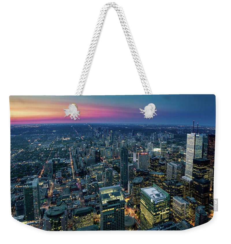 Downtown District Weekender Tote Bag featuring the photograph Toronto Downtown City At Night by D3sign
