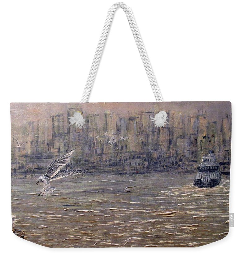 Toronto Weekender Tote Bag featuring the painting Toronto Harbor Morning by Ian MacDonald