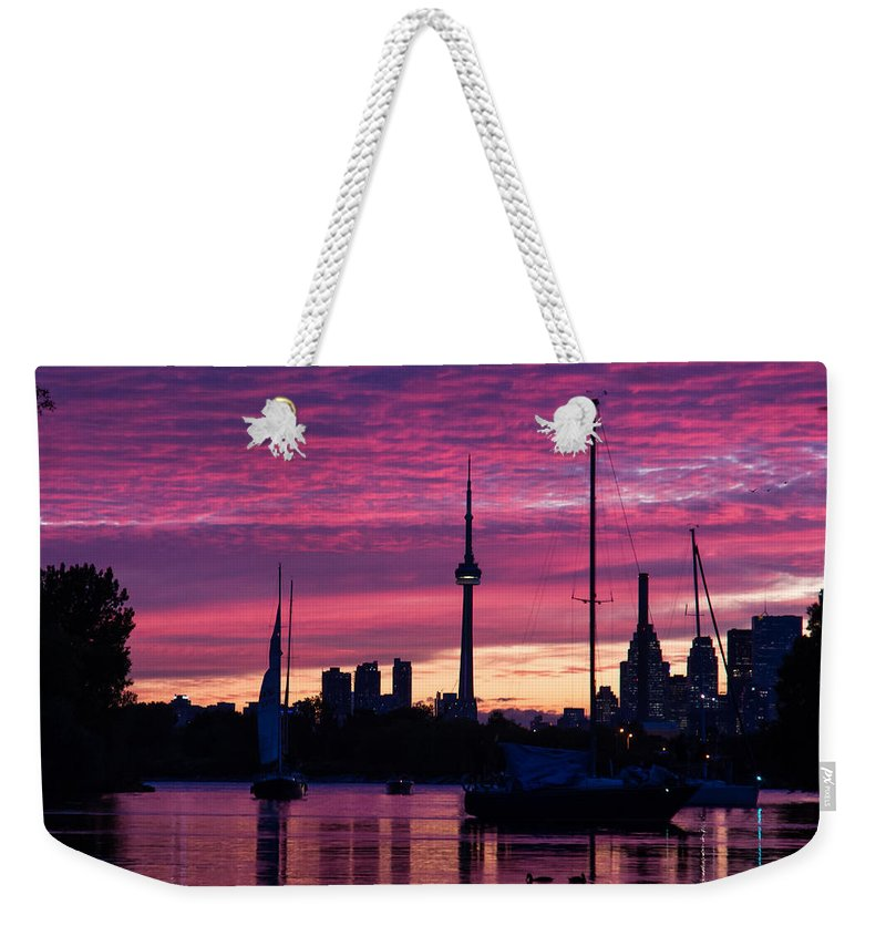 Toronto Weekender Tote Bag featuring the photograph Toronto Skyline - The Boats Are Coming In by Georgia Mizuleva