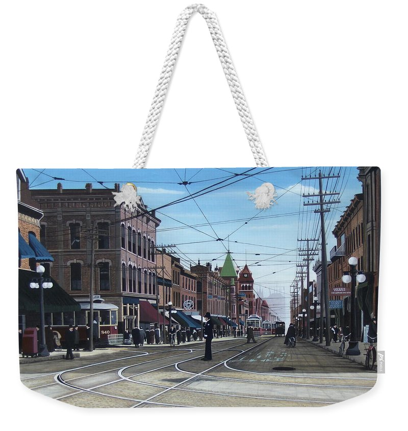 Streetscapes Weekender Tote Bag featuring the painting Toronto Yonge And College 1916 by Kenneth M Kirsch