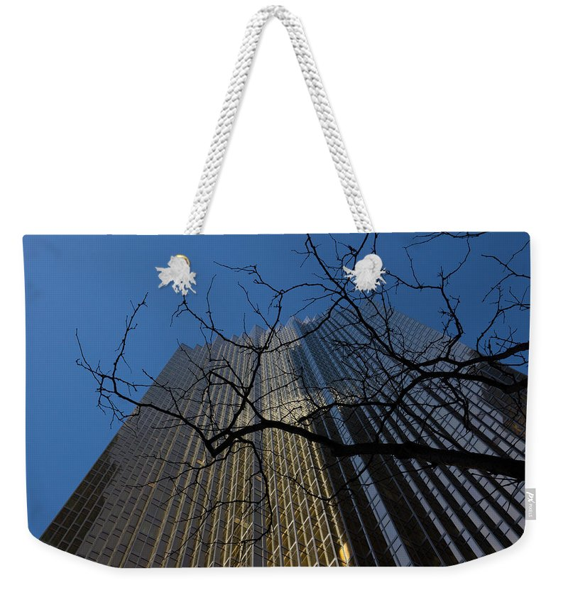 Georgia Mizuleva Weekender Tote Bag featuring the photograph Toronto's Golden Bank - Royal Bank Plaza Downtown by Georgia Mizuleva