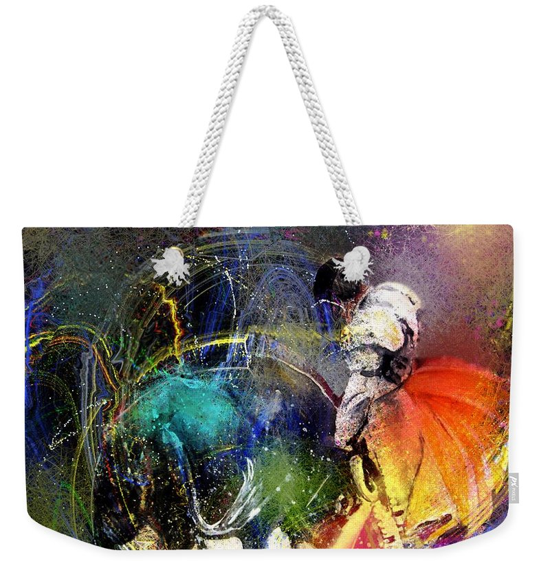 Bullfight Weekender Tote Bag featuring the painting Toroscape 20 by Miki De Goodaboom