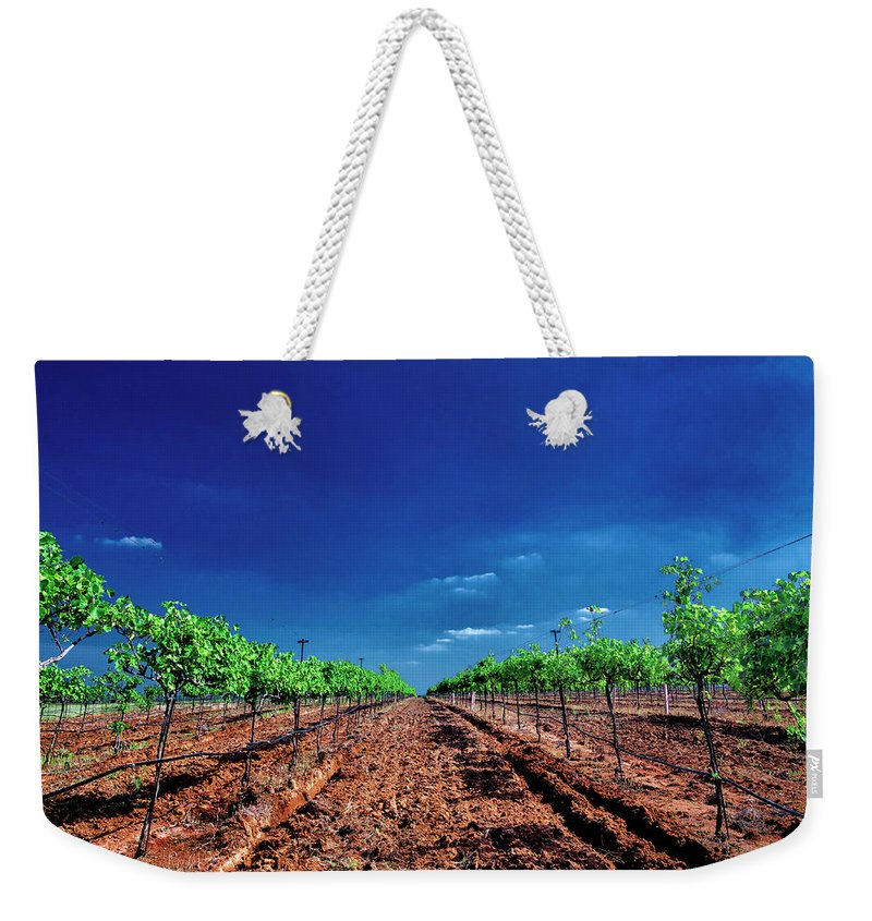 Tranquility Weekender Tote Bag featuring the photograph Torre Di Pietra Winery by Dean Fikar