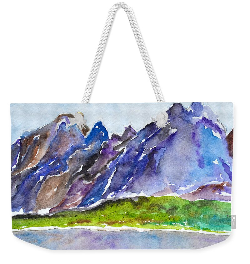 Patagonia Weekender Tote Bag featuring the painting Torres Del Paine by Patricia Beebe