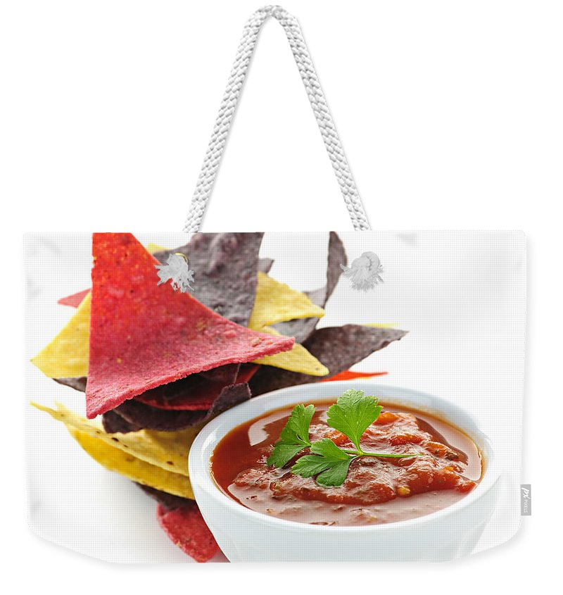 Salsa Weekender Tote Bag featuring the photograph Tortilla Chips And Salsa by Elena Elisseeva