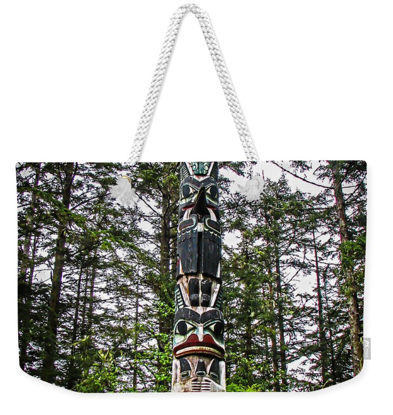 Totems Weekender Tote Bag featuring the photograph Totem Pole Of Southeast Alaska by Robert Bales
