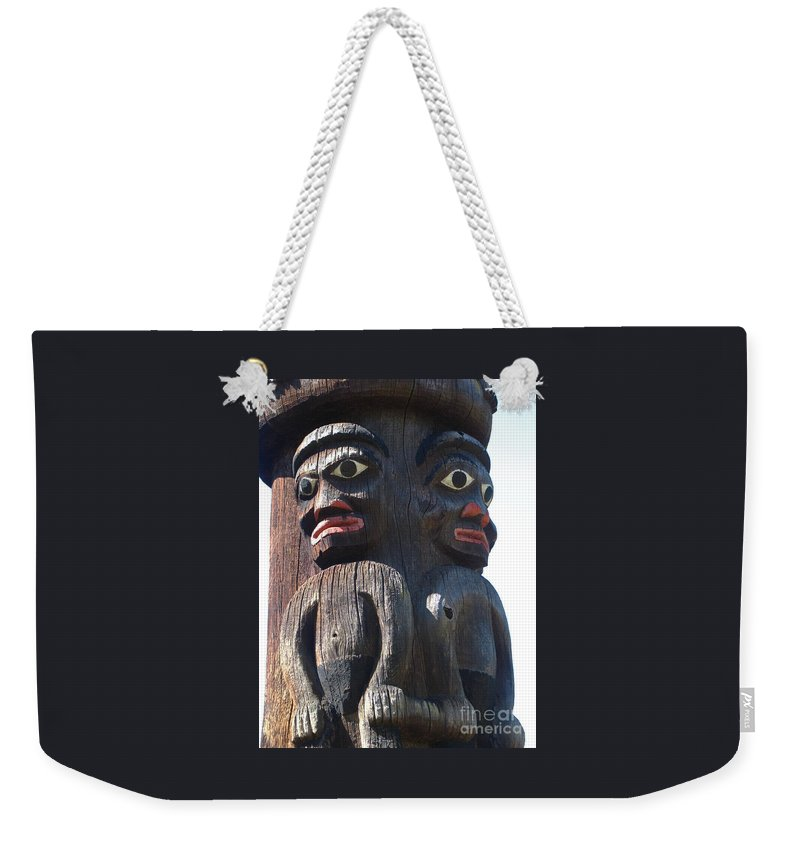 Totem Pole Weekender Tote Bag featuring the photograph Totem Twins by Ann Horn