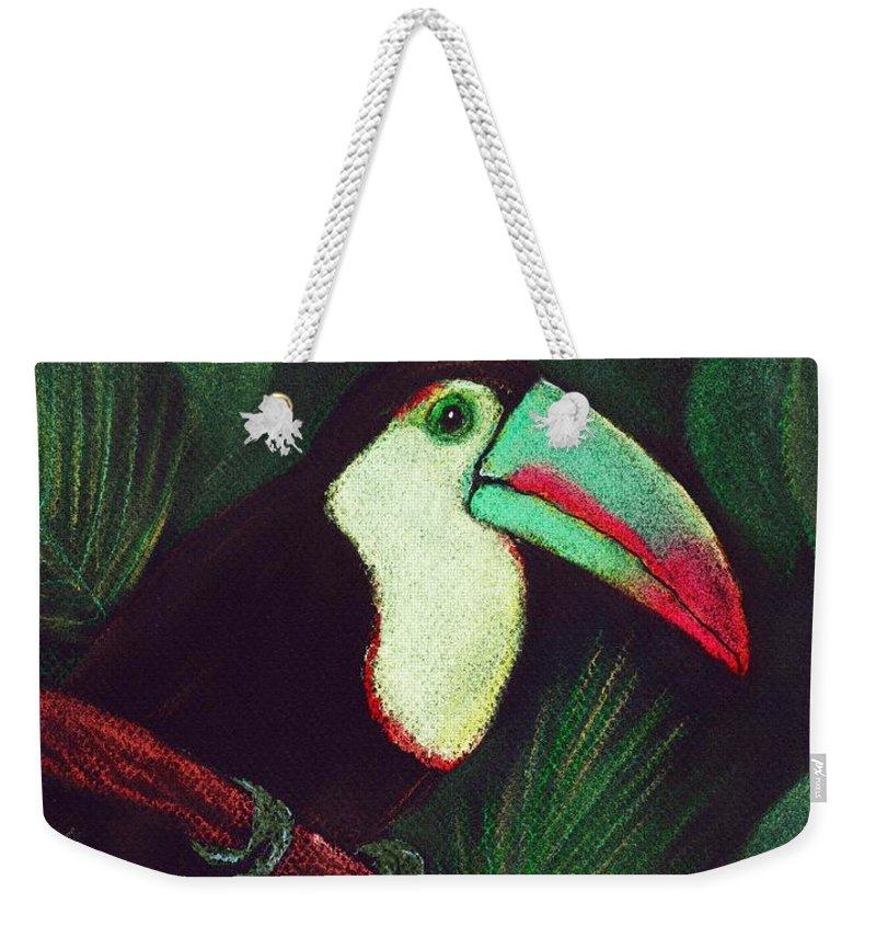 Malakhova Weekender Tote Bag featuring the painting Toucan by Anastasiya Malakhova