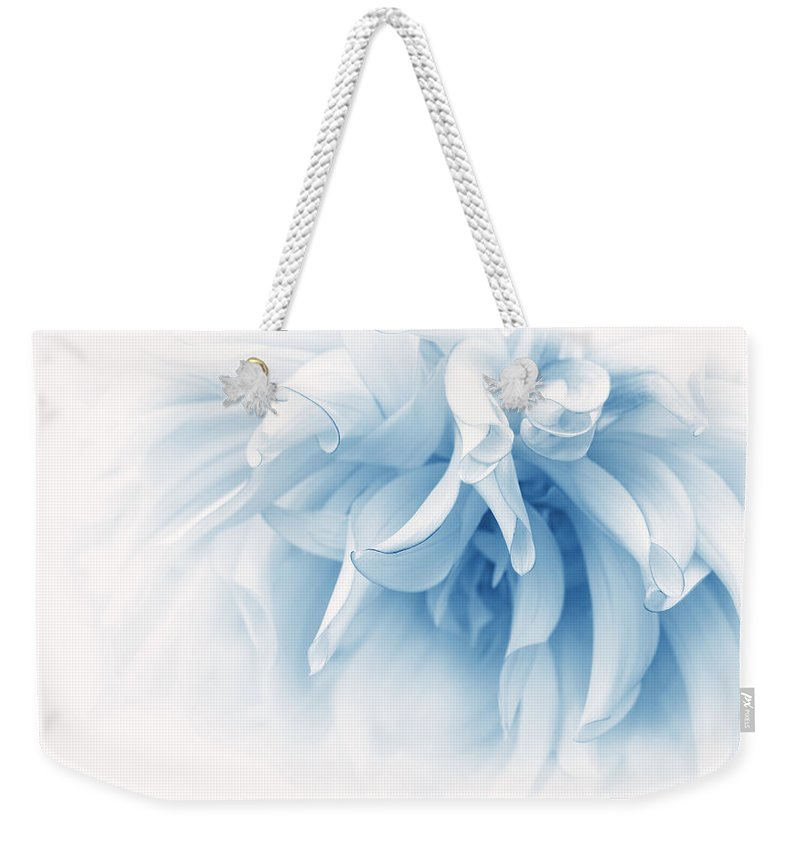 Dahlia Weekender Tote Bag featuring the photograph Touch Of Blue Dahlia Flower by Jennie Marie Schell