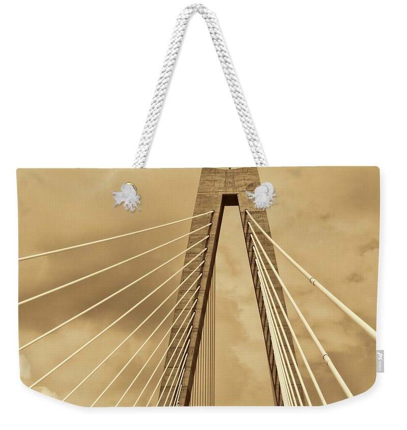 Arthur Ravenel Jr. Bridge Weekender Tote Bag featuring the photograph Touching The Sky by Kathy Clark