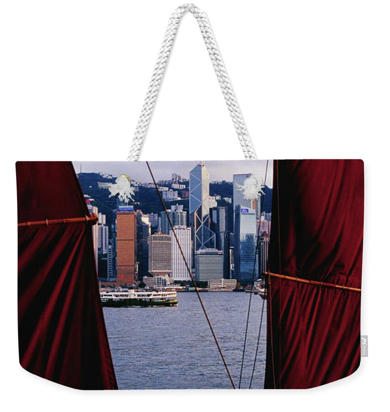 Chinese Culture Weekender Tote Bag featuring the photograph Tourist Boat Junk Sails Framing by Richard I'anson