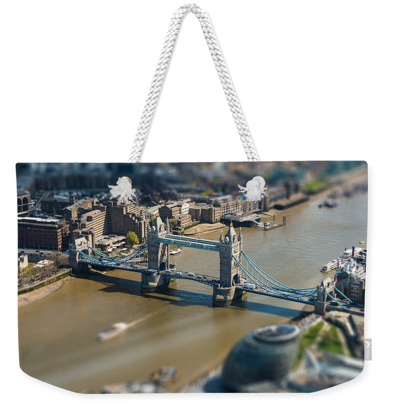 Tower Weekender Tote Bag featuring the photograph Tower Bridge And London City Hall Aerial View by Dutourdumonde Photography