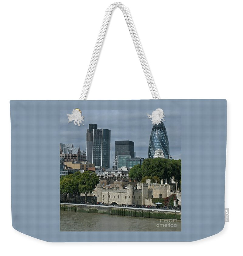 London Weekender Tote Bag featuring the photograph Towers Old And New by Ann Horn