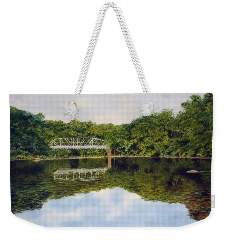 Bridge Weekender Tote Bag featuring the painting Town Bridge by Sharon Farber