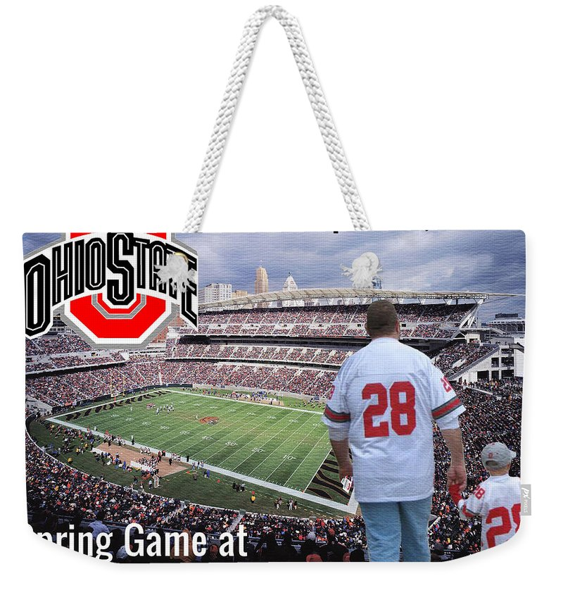 Ohio State Weekender Tote Bag featuring the painting Tradition by Tom Schmidt
