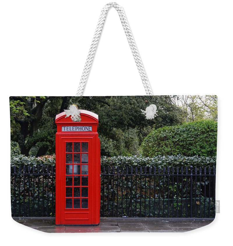 London Weekender Tote Bag featuring the photograph Traditional Red Telephone Box In London by Dutourdumonde Photography