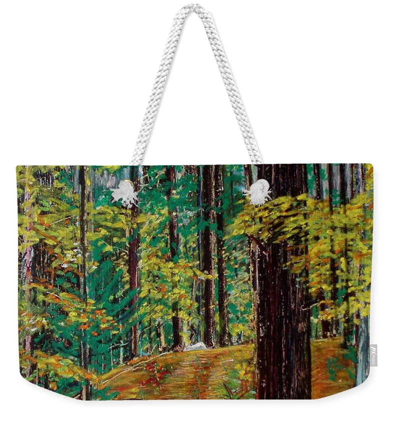 New Hampshire Weekender Tote Bag featuring the pastel Trail At Wason Pond by Sean Connolly