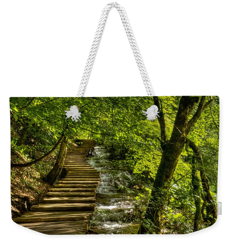 Landscape Weekender Tote Bag featuring the photograph Trail In The Forest by Josip Horvat