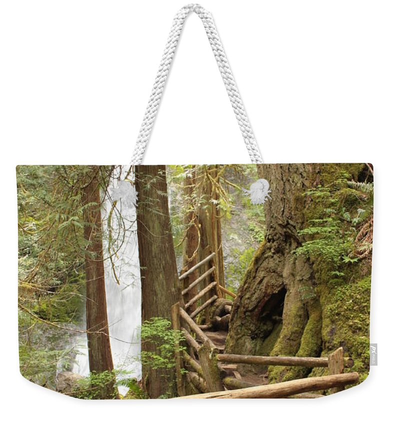 Washington State Weekender Tote Bag featuring the photograph Trail To Waterfall by Carol Groenen