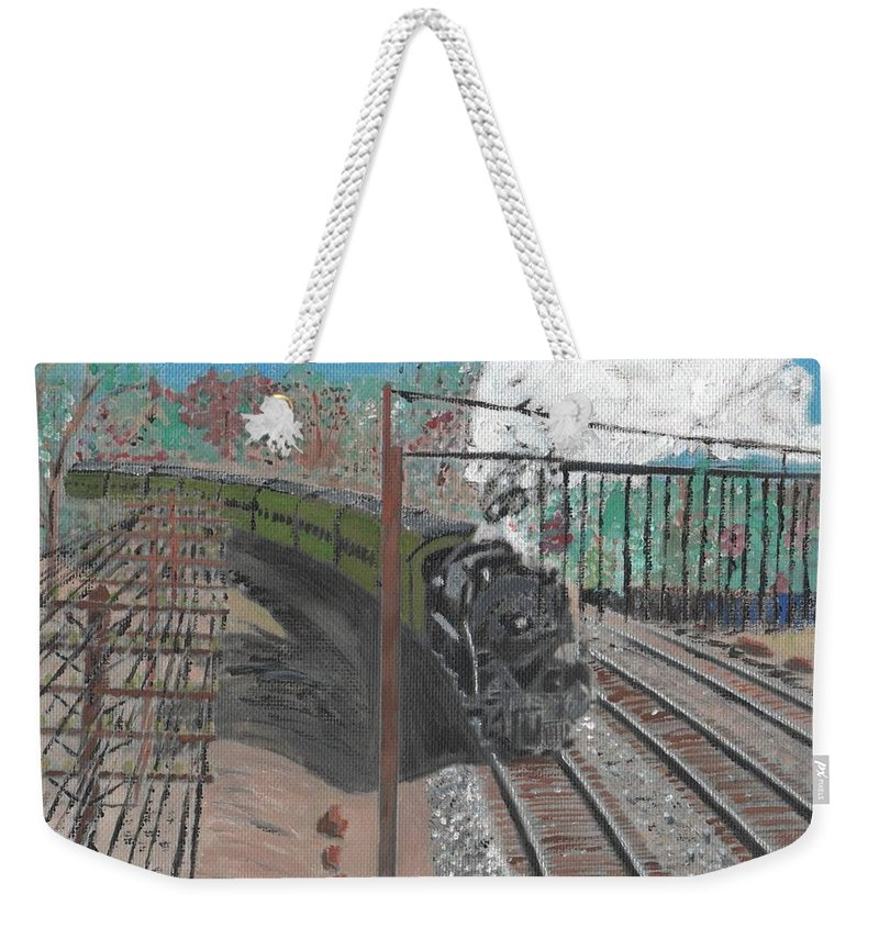 Train Weekender Tote Bag featuring the painting Train 641 by Cliff Wilson
